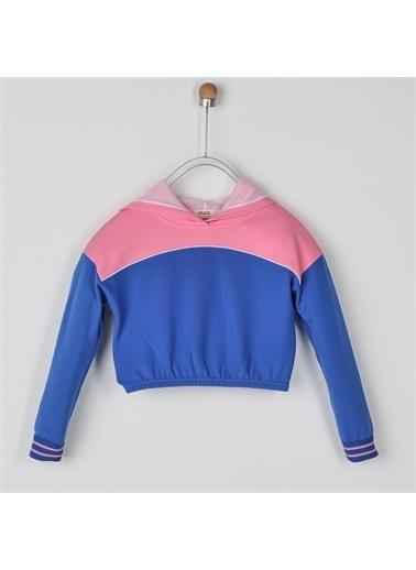 Panço Kız Çocuk Kapşonlu Sweatshirt 2021GK08032 Mavi